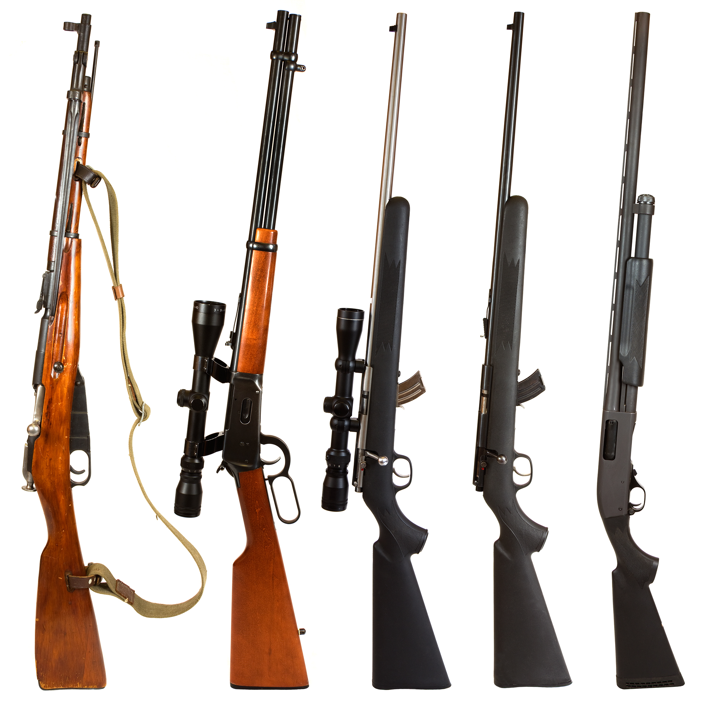"""Rifles isolated on white background depicting a Russian bolt action Mosin Nagant, 30-30 Winchester lever action rifle, 22. bolt action rifle with scope, 22. bolt action rifle without a scope, and a black pump-action 12 gauge shotgun."""